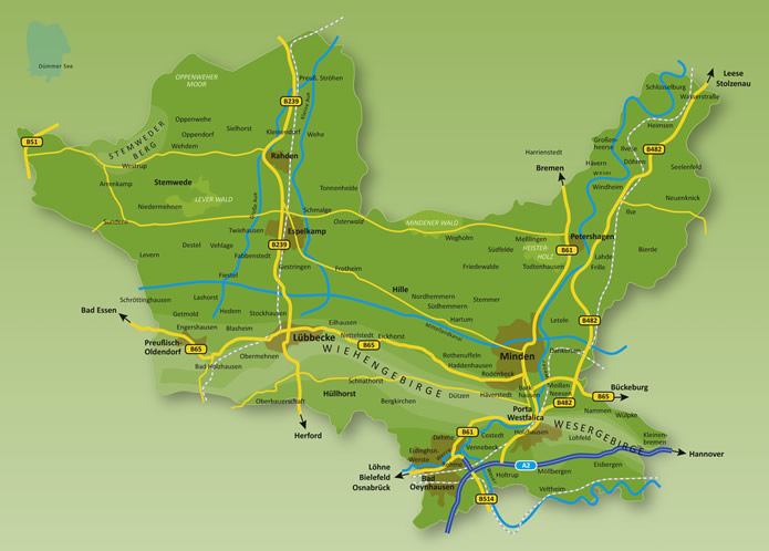 Mühlenkreis Kreiskarte
